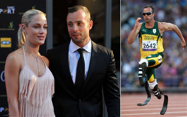 Reeva Steenkamp and Oscar Pistorius, left & Oscar Pistorius on the track, right