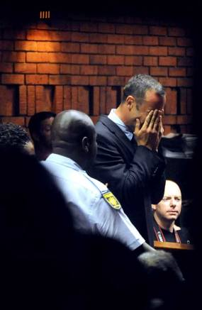 Oscar Pretorius sobs at his bail hearing
