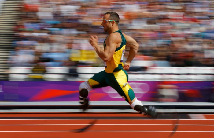 South Africa's Oscar Pistorius competes during the men's 400m heats at the London 2012 Olympic Games. (Pic: REUTERS/Phil Noble)