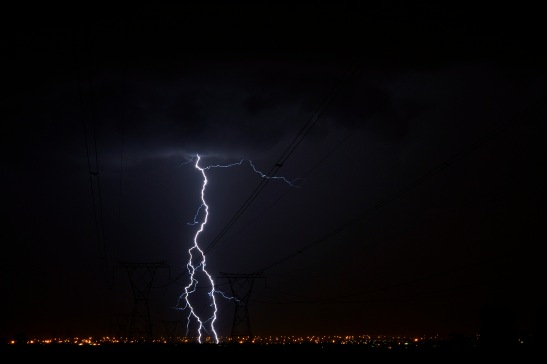 Lightning and power lines towards Tembisa