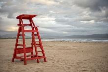 Red lifeguards' chair